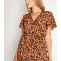Gini London Rust Animal Print Wrap Midi Dress New Look