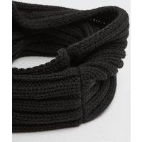 Girls Black Ribbed Knit Snood New Look