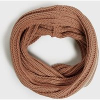 Girls Camel Ribbed Knit Snood New Look