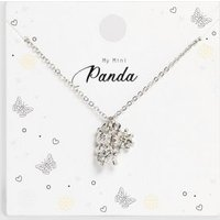 Girls Silver Panda Flower Pendant Necklace New Look