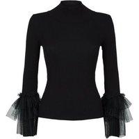 Cameo Rose Black Mesh Ruffle Sleeve Jumper New Look