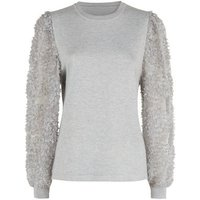 Cameo Rose Grey 3D Floral Puff Sleeve Jumper New Look