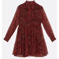 Tall Red Animal Print Tie Neck Chiffon Smock Dress New Look