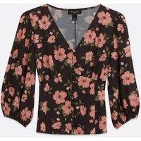 Petite Black Floral Button Front Tea Blouse New Look