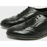 Black Leather Lace Up Brogues New Look