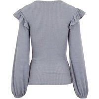 Pale Grey Frill Trim Ribbed Top New Look