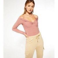 Mid Pink Twist Front Long Sleeve Bodysuit New Look
