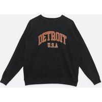Dark Grey Detroit Varsity Logo Sweatshirt New Look