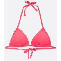Coral Moulded Triangle Bikini Top New Look