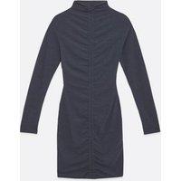 Dark Grey Ribbed Ruched Mini Dress New Look