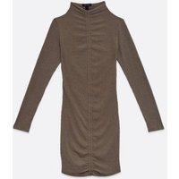 Khaki Ribbed Ruched Mini Dress New Look