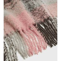 Pink Check Tassel Trim Scarf New Look