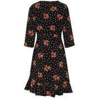 Blue Vanilla Black Floral and Spot Wrap Dress New Look