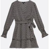 Petite Black Spot Satin Wrap Dress New Look