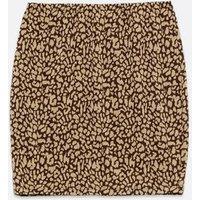 Curves Black Jacquard Leopard Mini Tube Skirt New Look