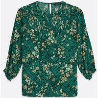 Green Floral Animal Print Shirred Frill Blouse New Look