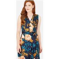 Mela Navy Floral Print Sleeveless Wrap Midi Dress New Look