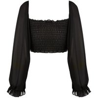 Cameo Rose Black Shirred Tie Front Puff Sleeve Top New Look