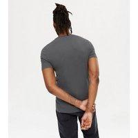 Men's Dark Grey Crew Neck Muscle Fit T-Shirt New Look