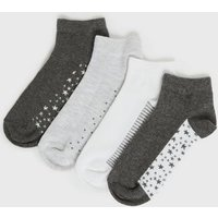4 Pack Grey Star Spot and Stripe Trainer Socks New Look