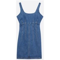 Blue Denim Seam Bodycon Dress New Look