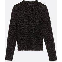 Petite Navy Velvet Leopard Long Sleeve Top New Look