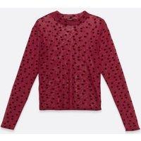 Petite Burgundy Velvet Spot Long Sleeve Top New Look