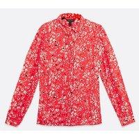 Red Animal Print Long Sleeve Shirt New Look