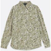 Green Animal Print Long Sleeve Shirt New Look