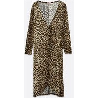 Blue Vanilla Curves Brown Leopard Soft Touch Dress New Look
