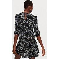 Tall Black Floral Puff Sleeve Mini Dress New Look