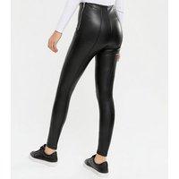 Tall Black Leather-Look Seamed Leggings New Look