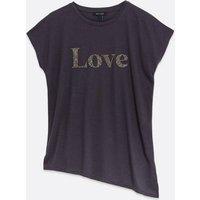 Dark Grey Love Logo Asymmetric T-Shirt New Look