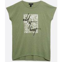 Khaki Wild Leopard Print Slogan T-Shirt New Look