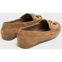 Wide Fit Tan Suede Tassel Trim Loafers New Look