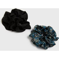 2 Pack Black and Floral Scrunchies New Look