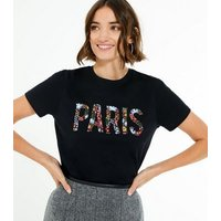 Black Floral Embroidered Paris Slogan T-Shirt New Look