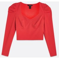 Red Bustier Puff Sleeve Top New Look