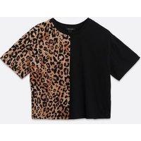 Black Leopard Colour Block T-Shirt New Look