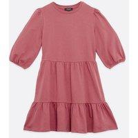 Petite Mid Pink Jersey Tiered Mini Smock Dress New Look