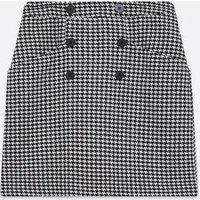 Black Dogtooth Button Mini Skirt New Look