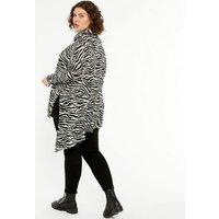 Curves Black Zebra Print Fine Knit Asymmetric Long Top New Look