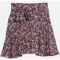 Pink Floral Frill Mini Skirt New Look