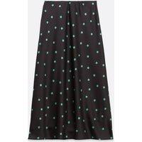 Black Spot Bias Cut Satin Midi Skirt New Look