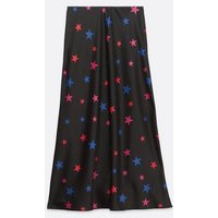 Black Star Bias Cut Satin Midi Skirt New Look
