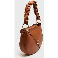 Tan Leather-Look Ruched Strap Saddle Bag New Look Vegan