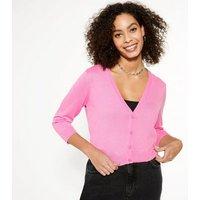 Bright Pink 3/4 Sleeve Crop Cardigan New Look