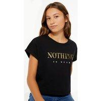 Girls Black Nothing To Wear Metallic Slogan T-Shirt New Look