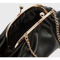 Black Chain Clasp Clutch Bag New Look Vegan