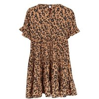 Cameo Rose Brown Leopard Tiered Smock Dress New Look